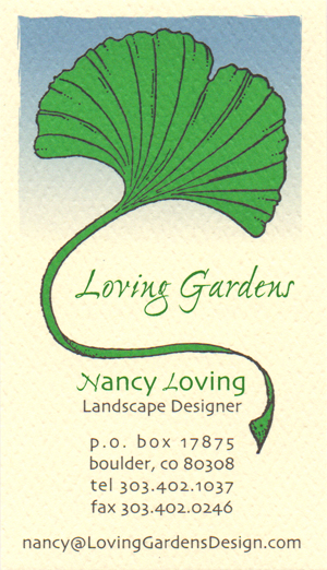 Loving Gardens, Nancy Loving, landscape design and installation, Boulder, Colorado, 303.402.1037